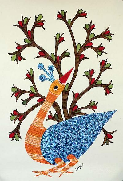 Gond painting, 'The Peacock Dance' by NOVICA