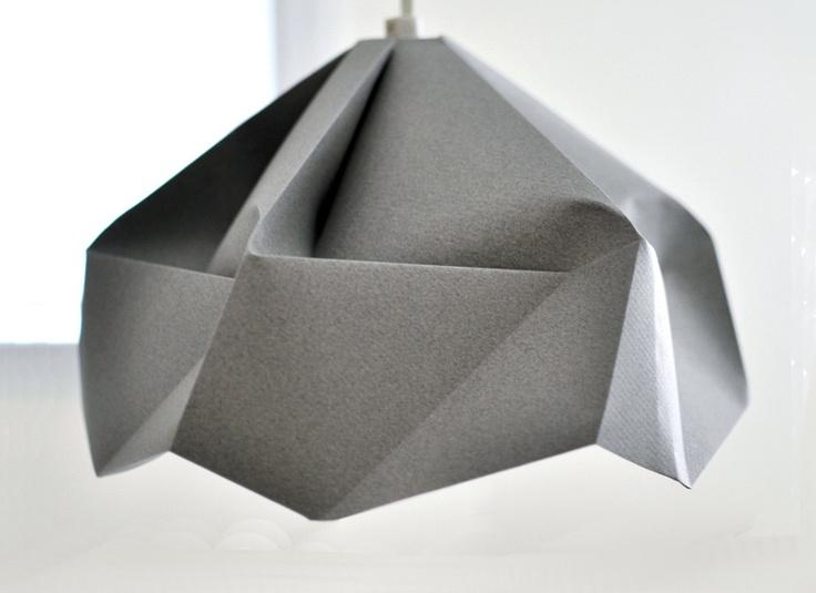 FOR Dugan / Snowflake: Origami Paper Lamp Shade / Lantern   Grey