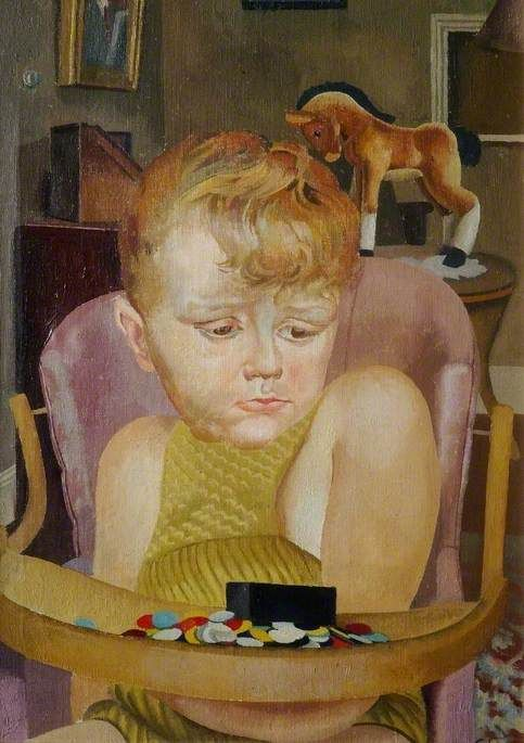 Baby in a High Chair  by Stanley Spencer  Date painted: 1943  Oil on canvas, 62 x 48 cm  Collection: Stanley Spencer Gallery