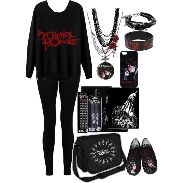 School Outfit:My Chemical Romance by nancyricothemusiclover on Polyvore featuring Amrita Singh and Religion Clothing