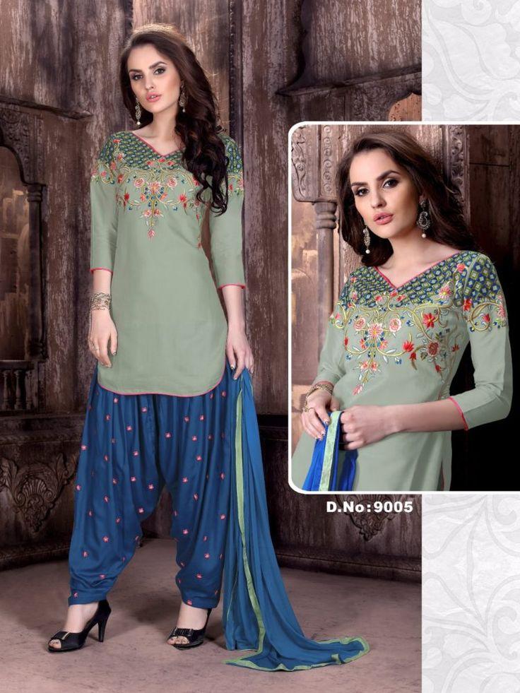 Click On Bazaar Gray and Blue Color Cambric Cotton Patiala Salwar Suit - ClickOnBazar  #onlinepatiala #designerpatialasalwar #patialasalwarsuits #designerpatialasalwar #clickonbazaarpatialasuits