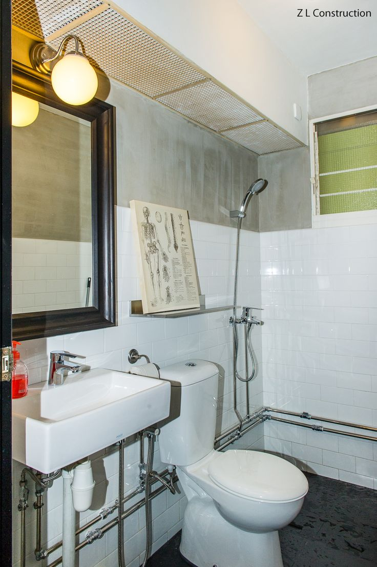 Z L Construction Singapore Industrial Themed Hdb Bathroom With Raw Exposed Pipings