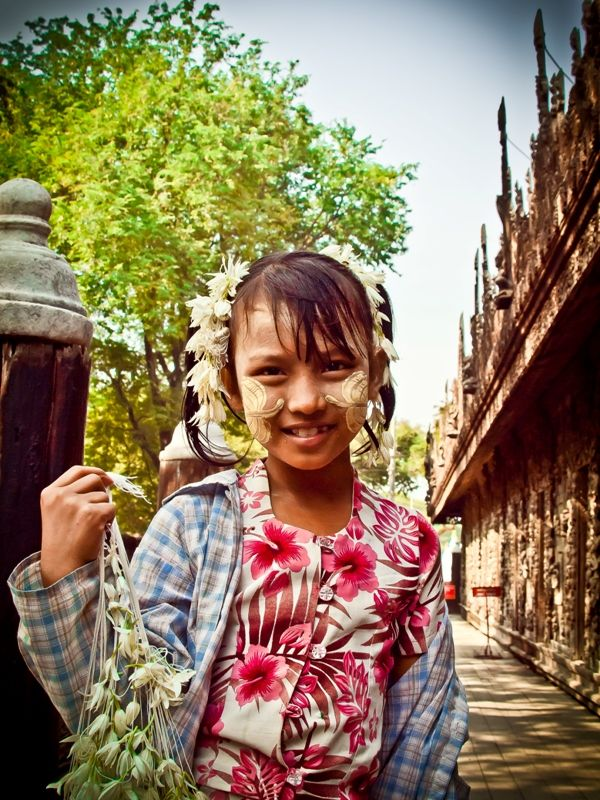Lovely Burmese Girl with Thanakha, a traditional cosmetic of Burmese women Read more about Thanakha at http://www.exoticvoyages.com/travel-blog/visit-myanmar-discover-thanakha-soul-burmese-beauty