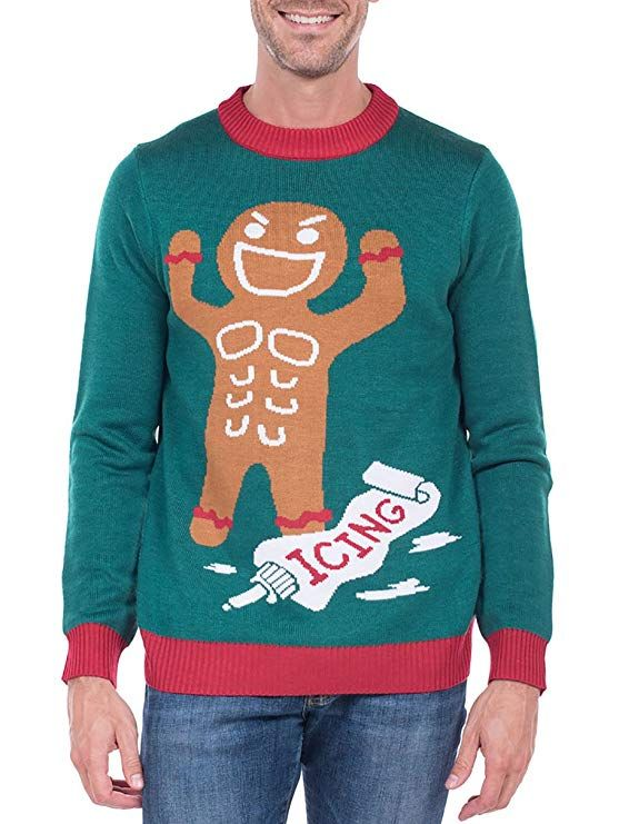 8db354f5df9fb Tipsy Elves Men's Gingerbread Man Roid Rage Christmas Sweater - Green Ugly Christmas  Sweater: Large