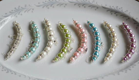 Bridesmaids pearl and crystal custom line necklaces