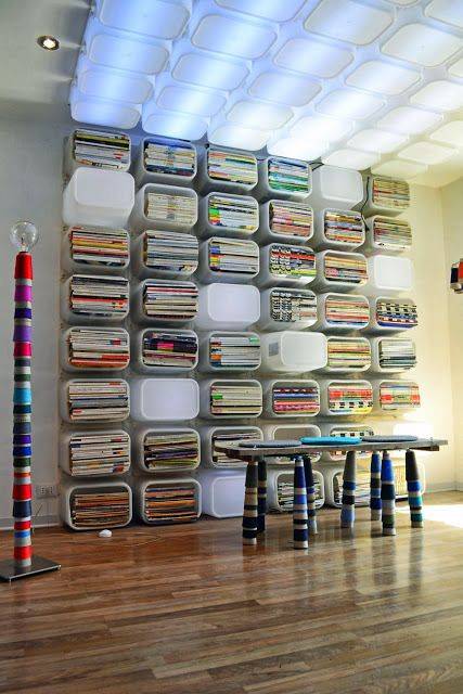 Isn't this fabulous? Fabric storage -Ikea . Could use any storage bin and screw to a wall. Also  smaller bins for scrapbook papers, to stack bead organizers, or whatever else you need. This looks so cool!