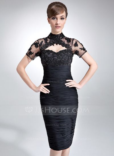 Mother of the Bride Dresses - $152.99 - Sheath High Neck Knee-Length Chiffon Tulle Mother of the Bride Dress With Ruffle Lace Beading (008005964) http://jjshouse.com/Sheath-High-Neck-Knee-Length-Chiffon-Tulle-Mother-Of-The-Bride-Dress-With-Ruffle-Lace-Beading-008005964-g5964