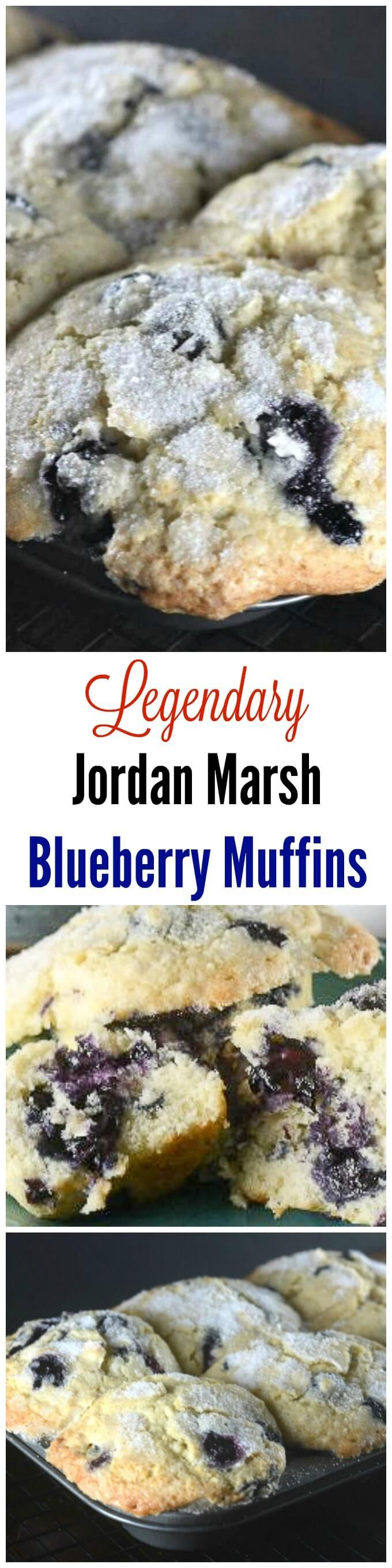 Jordan Marsh Legendary Blueberry Muffins are the same blueberry muffins that generations of families enjoyed for decades at the Jordan Marsh department stores in Boston and New England. ~ http://FlavorMosaic.com