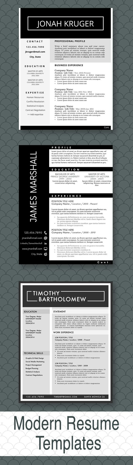 Modern Resume Templates for the Job Seeker