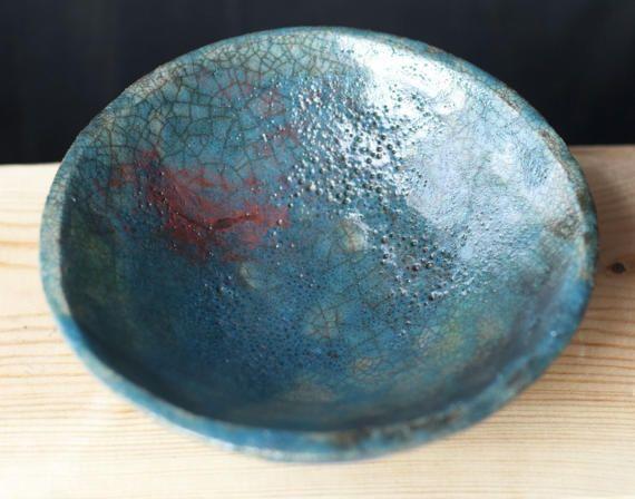 Unique ceramic bowl raku turquoise blue green OOAK by ClayLadyArt