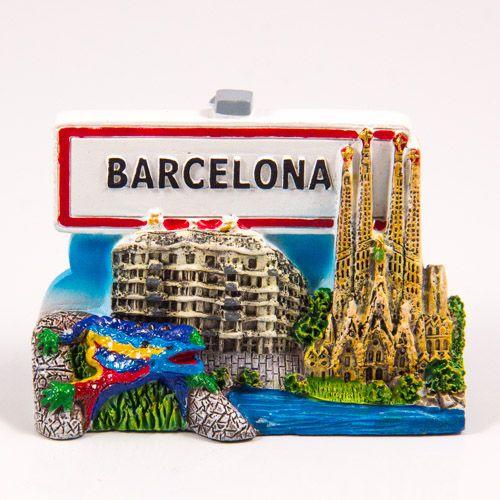 Resin Fridge Magnet: Spain. Barcelona Collage and Road Sign