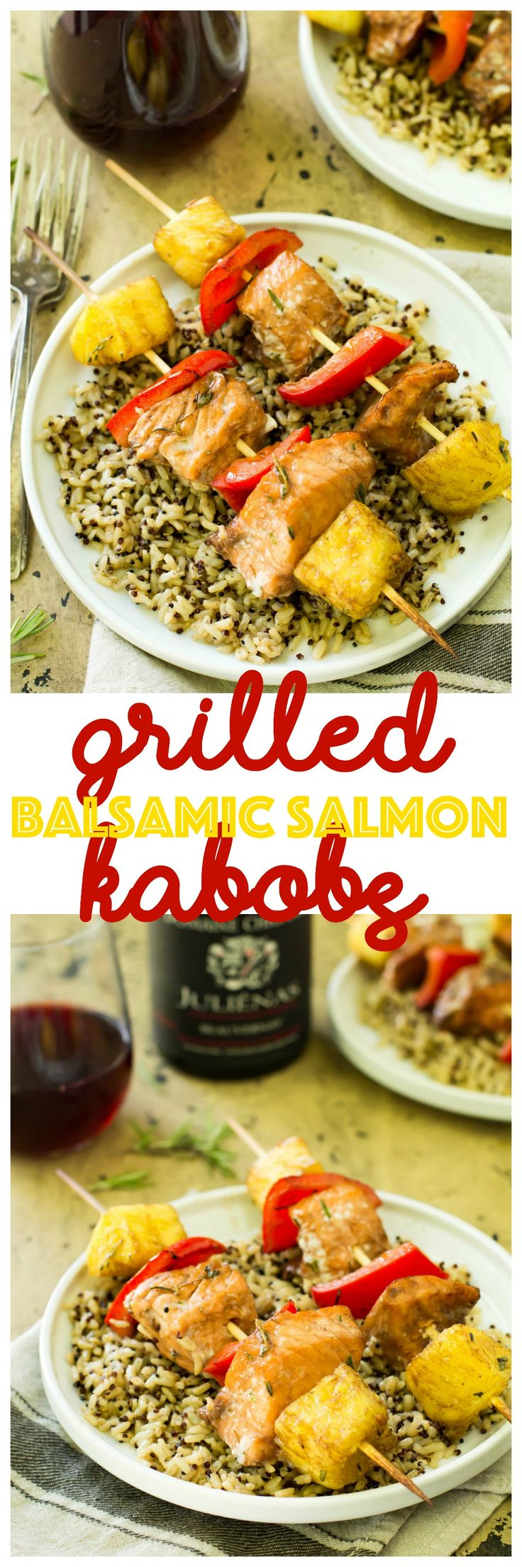 These salmon kabobs are easy to make, hearty, light and healthy. And they're packed with vibrant flavors! #BYOBojo #21andup #ad