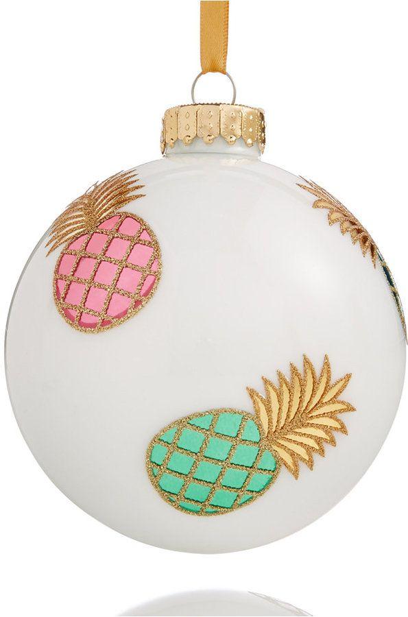 White Pineapple Glass Ball Ornament, Coastal Christmas, pineapple gift idea #ad