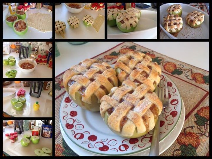 OH MY!!!! How cute are these!!!!!   GRANNY SMITH APPLE PIE TREAT :D  Awesome! Awesome! Not as hard as it looks!!...  Sherri is sharing this with us today. 3 Granny Smith Apples - please wash the apples before you start~~cut the tops off, and core out. Careful here, don't cut thru the apple skin.  Fill the cored out apples with lemon water, 1 tablespoon lemon juice to a full glass of water ~ keeps them from turning brown.  I used a small can of Country Apple pie mix, added a little more ...