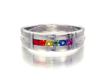 gay promise rings | Gay Pride Mens Promise Engagement B and Ring 925 Sterling Silver ...