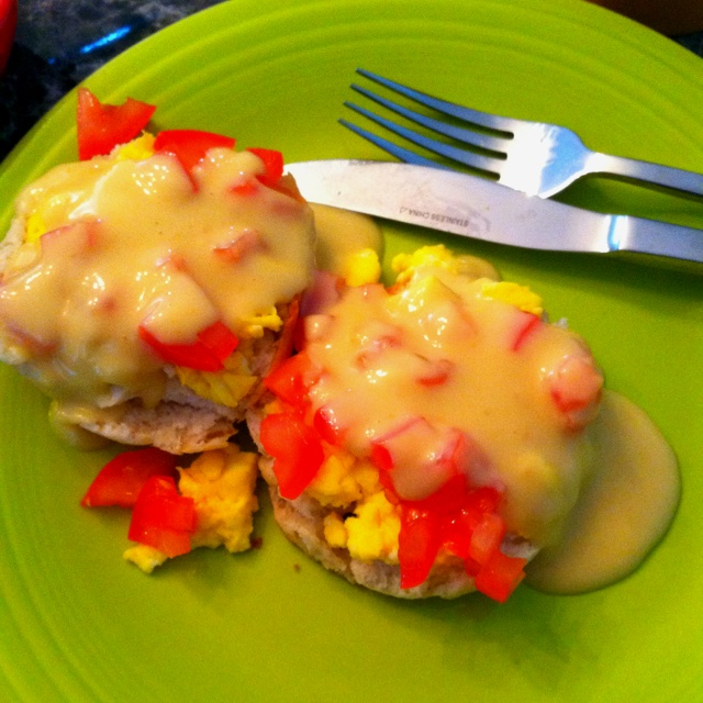 Eggs Benedict : Freshly baked biscuit, eggs scrambled with chopped ...