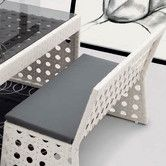 Found it at Wayfair - Happy Hour Resin Wicker Dining Bench with Back