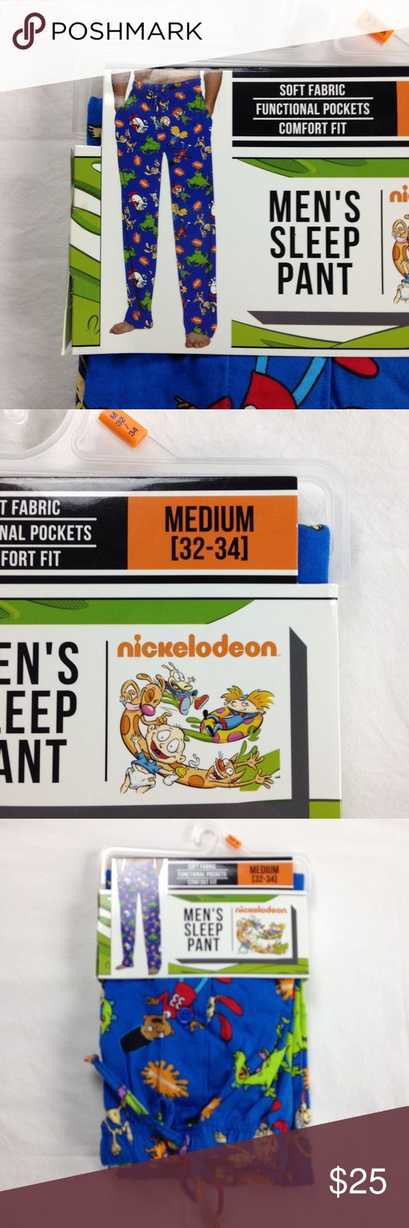 Rugrats Nickelodeon Cartoon Men's Pajama Pj Medium Nickelodeon Cartoon Men's Rugrats Blue Sleep Pajama Pjs Lounge Pants Medium 32 - 34 inches Has pockets and drawstring    100% Cotton     binF11 Nickelodeon Pants Sweatpants & Joggers