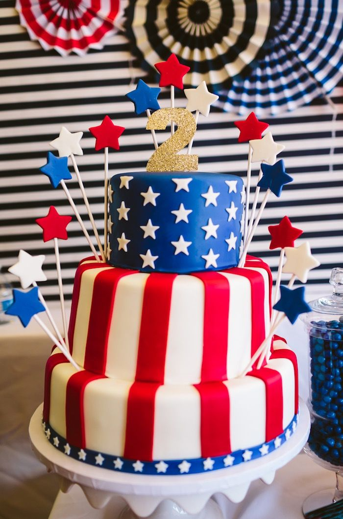 3-tier cake from Patriotic Red White & Blue Birthday Party at Kara's Party Ideas. See all the photos at karaspartyideas.com!