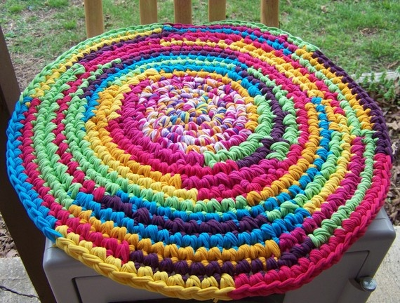 Crocheted Round Rug Made Out Of T Shirt Yarn