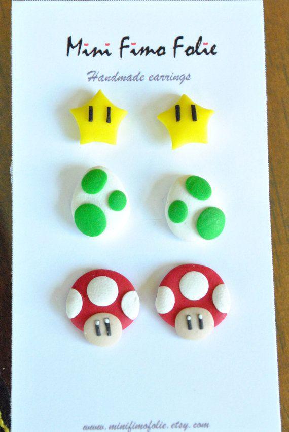 Boucles d'oreilles oeufs de yoshi, champignon et étoile de mario Pâte fimo, polymer clay