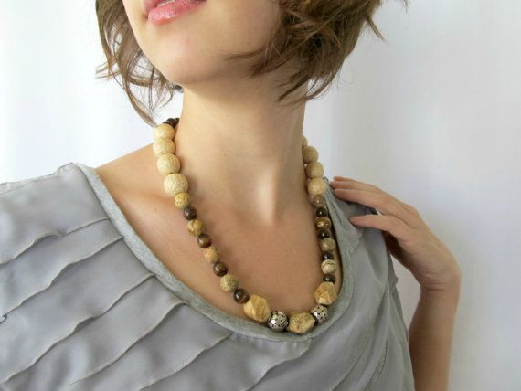 Jasper Stone beaded necklace tigers eye and by SeptemberWillow,
