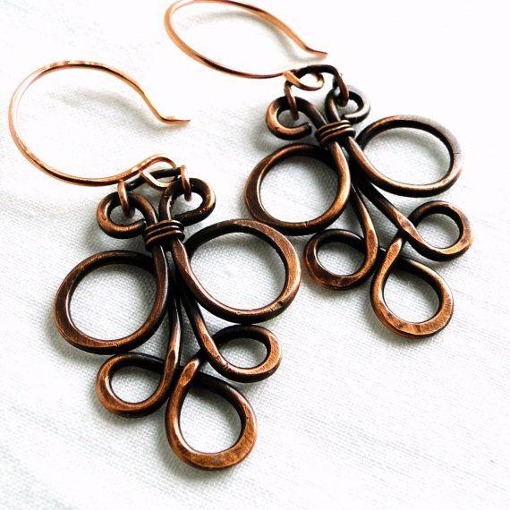 Wire Jewelry Motif Design Antiqued Copper Jewelry by KariLuJewelry, $23.00
