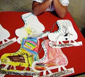 winter craft images for kids - Good for fine motor skills when lacing the skates