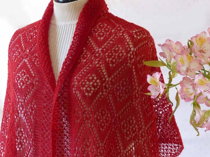 The Rose Maiden stole I knitted for my friend Annie