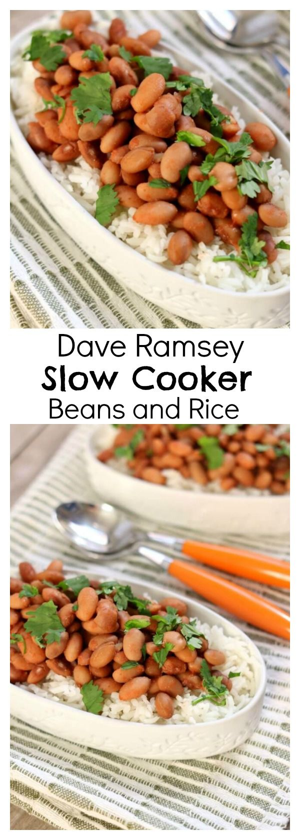 Dave Ramsey Slow Cooker Beans and Rice Recipe–if you're trying to cut down on your grocery bill I have a nourishing and inexpensive slow cooker beans recipe. We start with dried pinto beans (cheap!) and cook them all day while you're at work (earning money to pay off your debts). Add in some salt, cumin, garlic powder and tomato sauce and you have dinner (or lunch)!