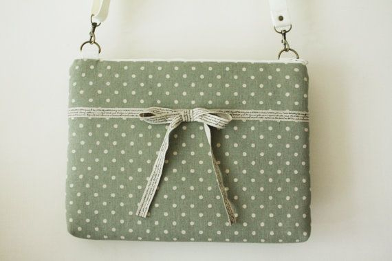 13 inch  Macbook or Laptop bag with  detachable shoulder strap and interior pocket- Ready to ship. $45.00, via Etsy.: Cotton Linen
