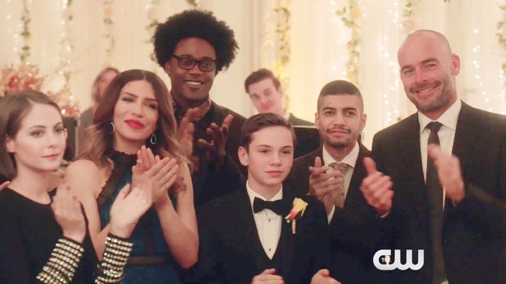 Thea, Dinah, Curtis, William, Rene, and Paul celebrating Oliver and Felicity's wedding in 6.09