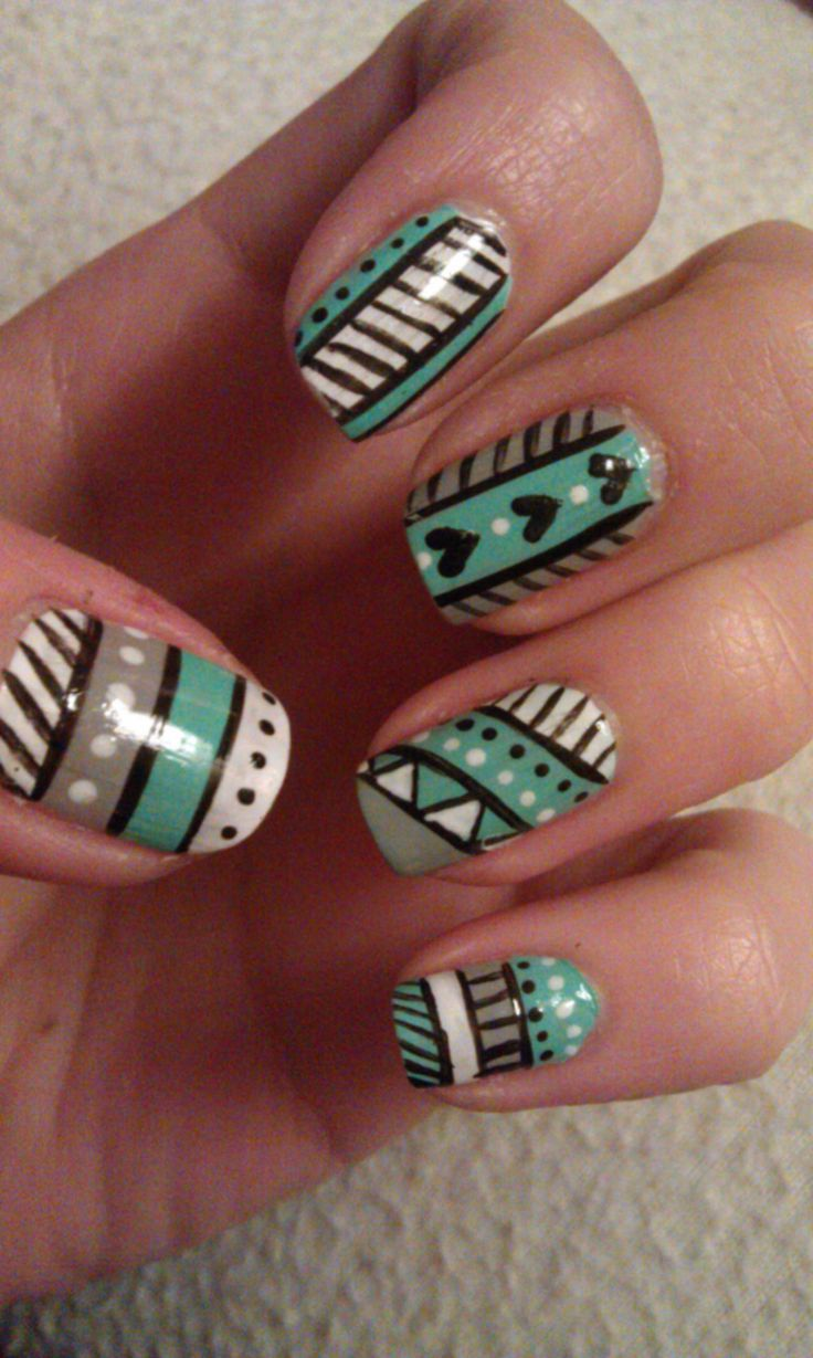 Turquoise tribal nails