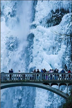 bridge at Multinomah Falls Oregon in Winter
