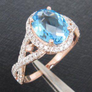 Luxury 2.38 ct Topaz 0.5 ct Total Diamonds 14K Rose Gold Ring