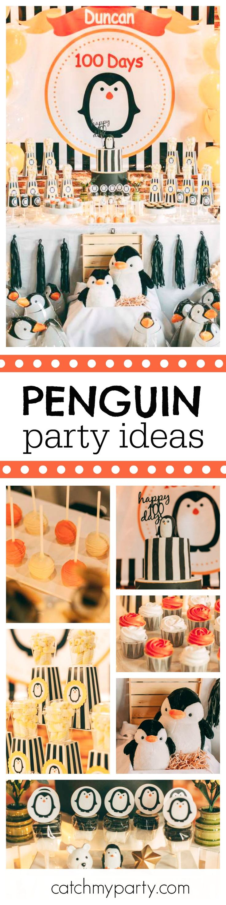 Take a look at this cute Penguin 100 day celebration party! The black & white striped birthday cake is awesome!! See more party ideas and share yours at CatchMyParty.com