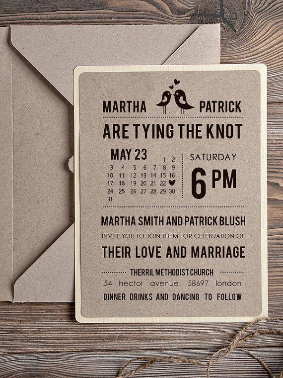 Custom listing (100) Rustic Wedding Invitation,  Recycling Eco Invitation, Birds in Love Invitation, Modern Calligraphy Invitation