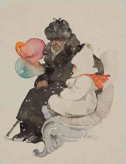 """Зима"" 1950-е. Бумага, акварель"