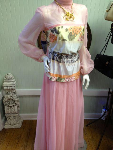 Vintage 1970s Chiffon Maxi // Maxi Pink Skirt and Floral Blouse Set // Vintage…