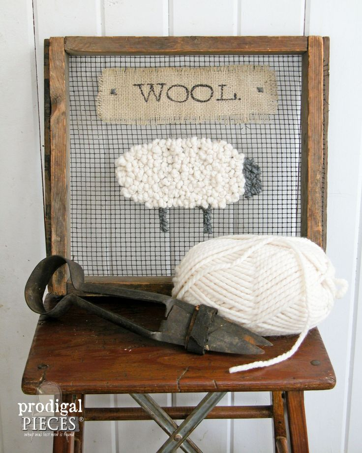 Repurposed Farmhouse Sifter Turned Wooly Sign by Prodigal Pieces | www.prodigalpieces.com