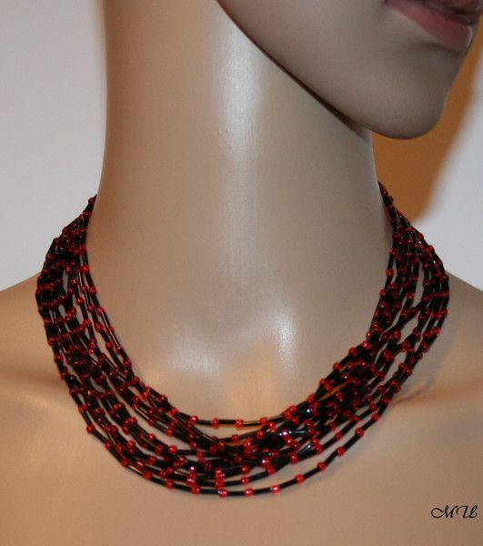 Colliers - Halskette-Glasperlen-12-reihig-rot - ein Designerstück von MartinDesign bei DaWanda