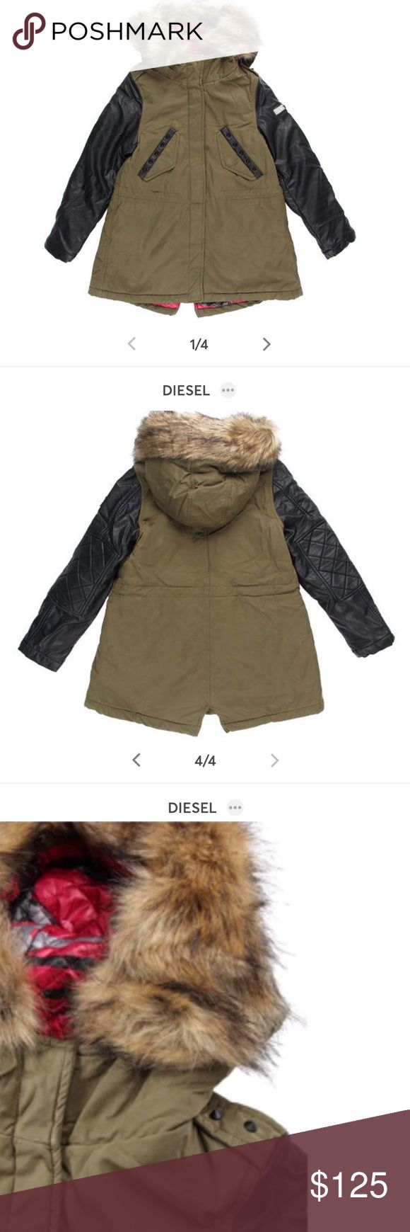 Diesel Olive Green Coat Gently used Diesel coat. Original price $200. Well made and warm. Faux leather sleeves but great quality. Removal faux fur hood lining. Hood is attached. Can also fit a 6x/7. My daughter wears an 8 now and fits a little tight.  Has a small fading as pictured but barely noticeable unless you look hard.   Reasonable offers accepted. No low balls! Diesel Jackets & Coats