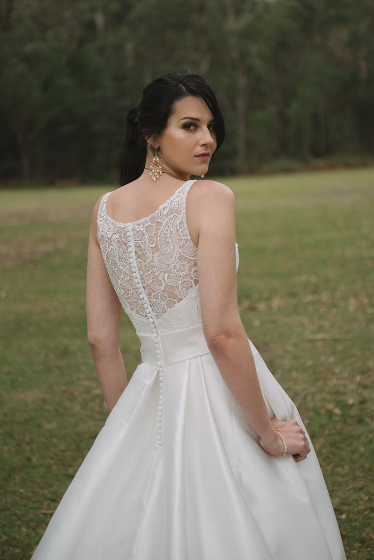 Gorgeous Lace & Satin Ball Gown featuring pockets!! Sweet Angels Bridal Australia