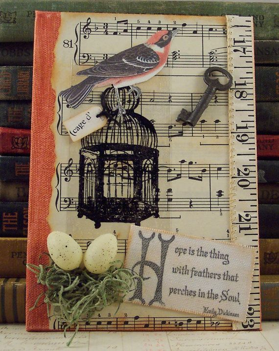 Emily Dickinson Quote Collage - Bird Cage and Bird Nest Mixed Media Assemblage 3D Collage Art