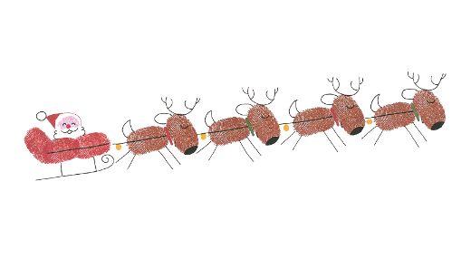 Rentierschlitten mit Weihnachtsmann aus Fingerabdrücken