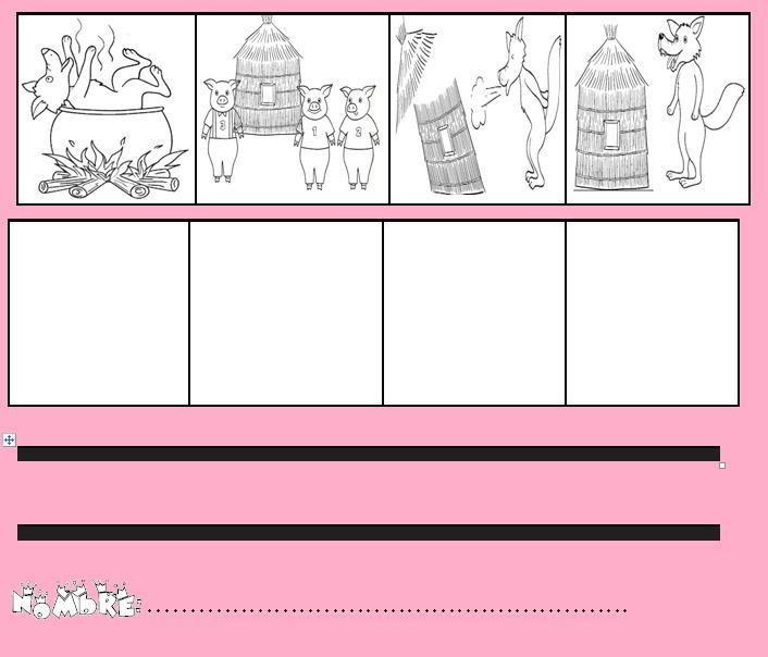 secuencia temporal para colorear de los tres cerditos con 3 y 4 viñetas.