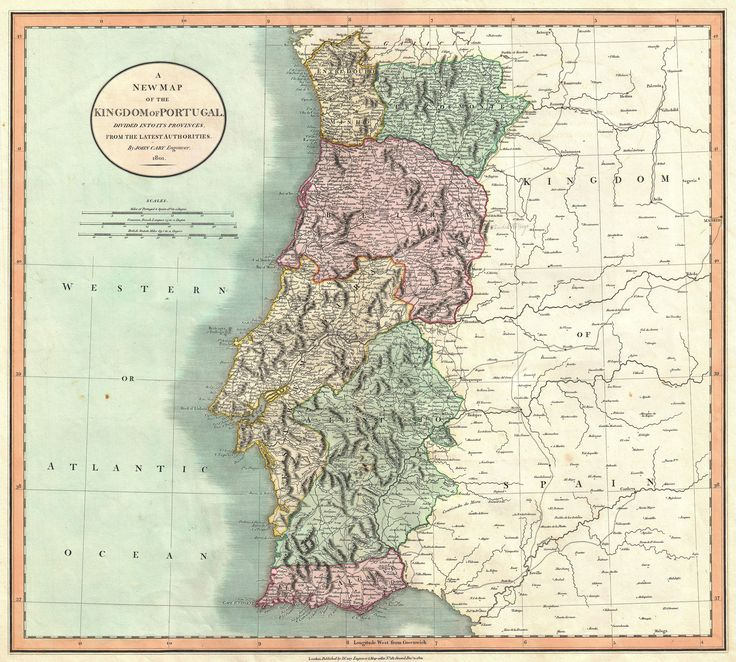 A New Map of the Kingdom of Portugal, Divided into its Provinces, from the Latest Authorities, 1801