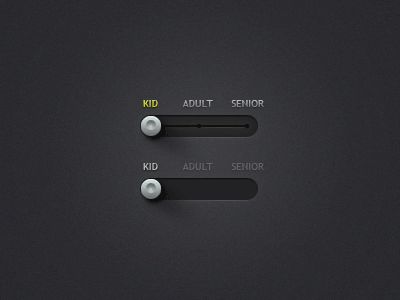 Interval Slider Toggle. Dark grey theme. #WebUIKit