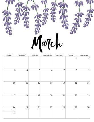 Free Printable Calendar 2019 Floral Printables Pinterest