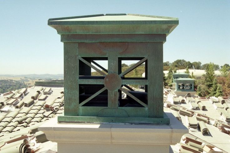 Architectural Chimney Tops : Sierra style copper deco top with green over brown patina